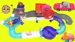 Shopkins Drive on Hot Wheels Car Track + Little Live Pets Lil' Mouse Wheel & Trail with Ball Pit