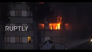 UK: Person trapped in burning Grenfell tower block