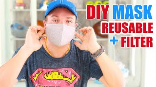 DIY : Reusable Face Mask With Filter   Cheap & Easy To Make   Free Pattern