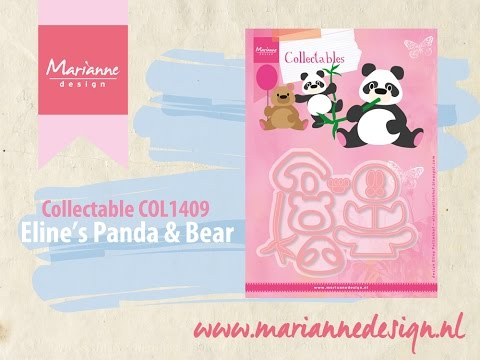 Collectable COL1409 Panda & Bear | Eline's Animals by Marianne Design | Cardmaking Die Cutting