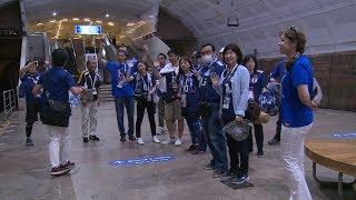 Иностранные болельщики спасались от жары в волгоградской подземке