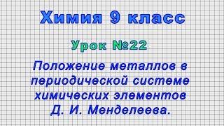 Химия 9 класс Урок 22 -Положение металлов в периодической системе химических элементов Менделеева.