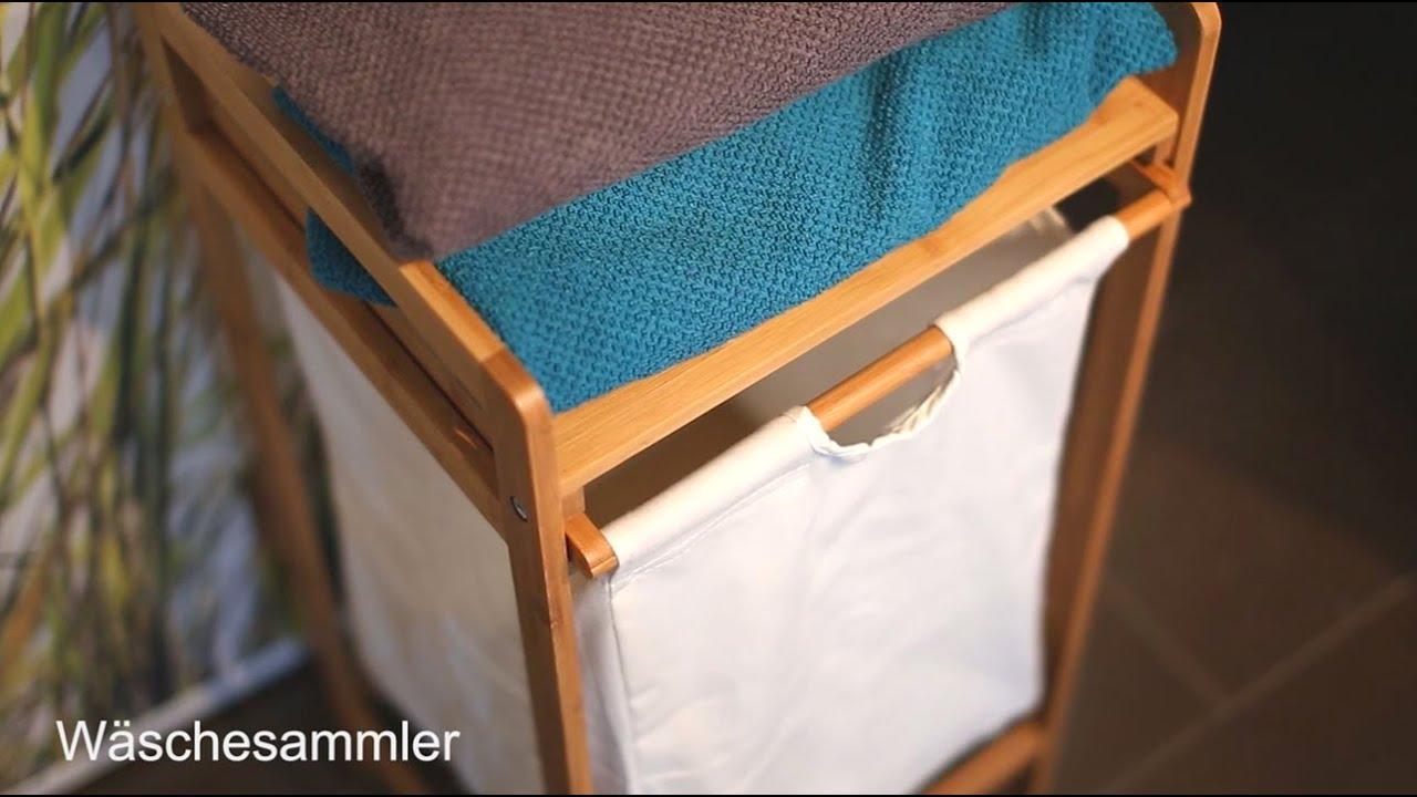 Video von: Wäschesammler Bambus LINEA mit Ablage