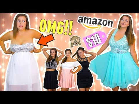 TRYING ON CHEAP HOMECOMING DRESSES FROM AMAZON!! CURVY GIRL HOMECOMING DRESS TRY ON!