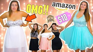 Trying On Cheap Homecoming Dresses From AMAZON! Sierra Schultzzie!