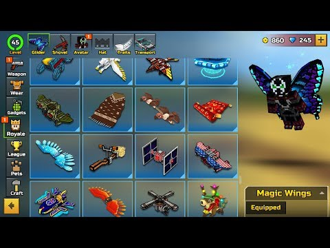 Pixel Gun 3D - Using All Gliders in Game [Battle Royale mode]