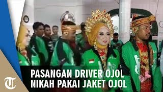 Pasangan Driver Ojol Gelar Pernikahan Pakai Jaket Ojol, Diarak dan Dihadiri Driver Lain