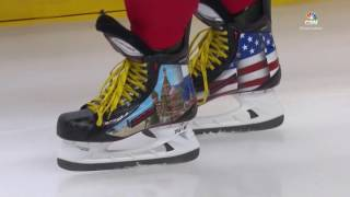 Ovechkin rocks American and Russian themed skates for charity