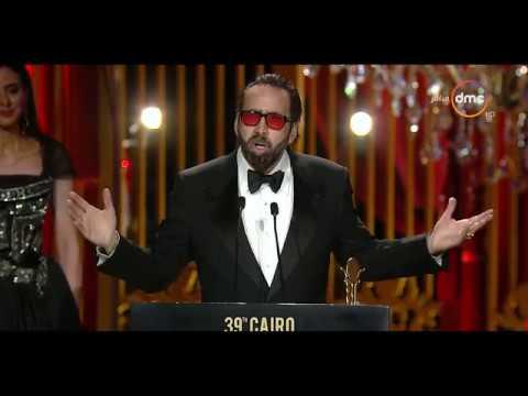 سعادة نيكولاس كيدج بعد تكريمه في مهرجان القاهرة السينمائي الدولي