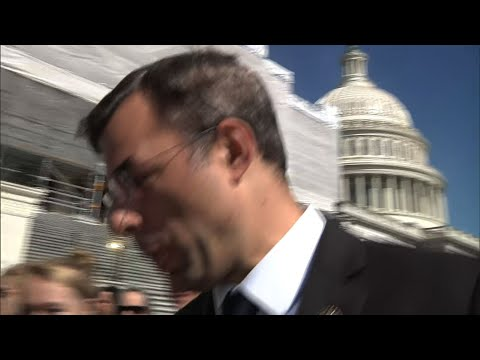 "On the question of whether President Donald Trump should be impeached, Rep. Justin Amash is the lone Republican saying ""Yes."" Outside the Capitol Building Tuesday, Amash said he is ""defending the Constitution."" (May 21)"