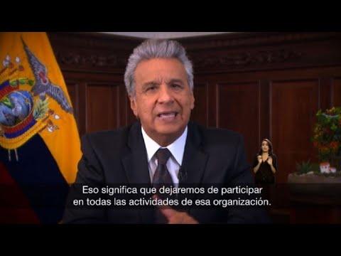 Ecuador se retira de Unasur y busca recuperar sede del organismo