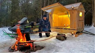 Off Grid Water Heater for Tiny Cabin Sled- DIY Heat Exchanger + Snowmobile Camper