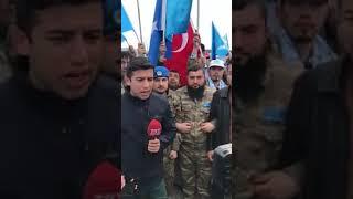 Уйгурские ополченцы дают интервью на турецком телеканале TRT