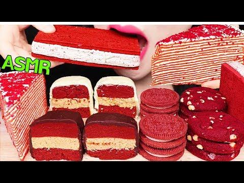 ASMR RED VELVET CAKE POP, CREPE CAKE, OREO COOKIES 레드벨벳 케이크팝, 크레이프 케이크, 아이스크림 먹방 EATING SOUNDS