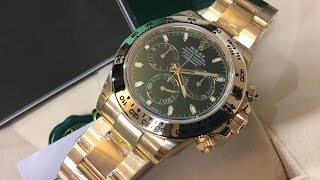 Rolex Cosmograph Daytona 116508 Green Dial 40 Mm Yellow Gold Swiss Made Luxury Watch Unboxing