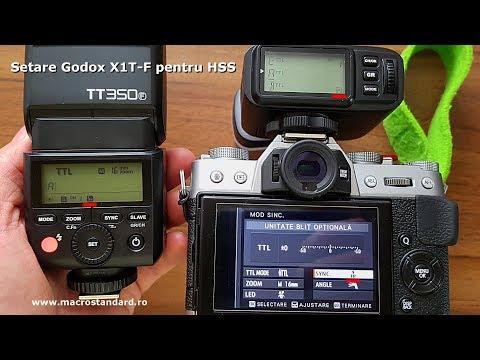 Setare transmitator radio TTL Godox X1T-F pentru HSS (High Speed Sync Flash) cu Godox Mini TT350F