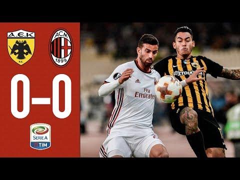 HIGHLIGHTS: AC Milan vs AEK Athens. It's 0-0 in Athens.