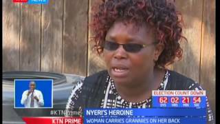 Meet the Nyeri heroine who has grabbed attention of many by carrying grannies on her back