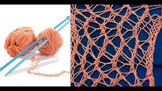 Вязание. Ажурный узор Паутинка.