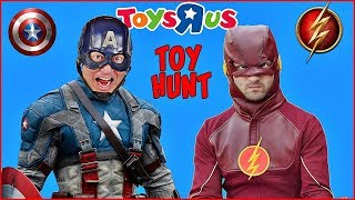 Superheroes Flash and Captain America TOY HUNT at Toys R Us Superheroes in Real Life
