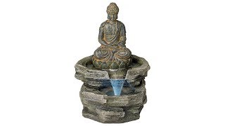 "Sitting Buddha 21"" High LED Water Fountain"