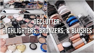 MAKEUP DECLUTTER: Highlighters, Bronzers, & Blushes 2018