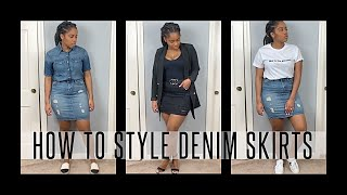 How To Style DENIM SKIRTS! WHAT TO WEAR With Denim Skirts| CARLA SIMON