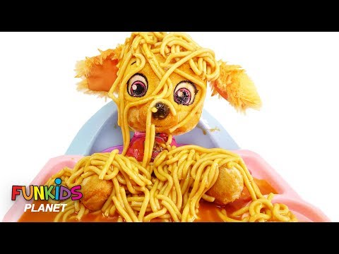 Paw Patrol Baby Skye & Chase Learns to Eat Spaghetti