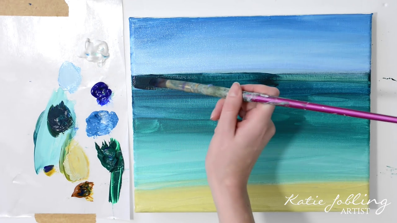 acrylic painting beginners tutorial ocean waves by katie jobling