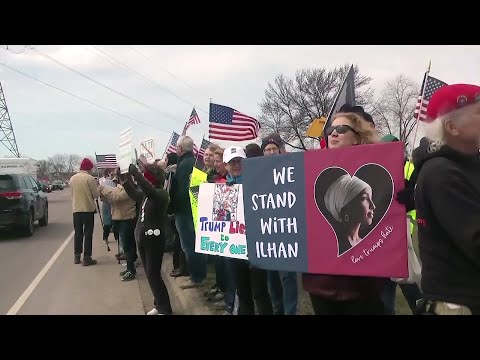 Supporters and opponents of President Donald Trump squared off before thepresident spoke at a Tax Day rally in Burnsville, Minn.Trump used a tweet toescalate his feud with Rep. Omar Ilhan, aMinnesota Democrat. (April 15)