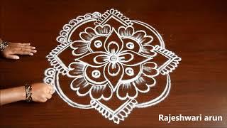 Friday kolam Design With 5 Dots * Simple Muggulu With Dots * Easy Rangoli by Rajeshwari Arun