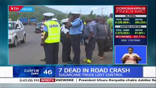 7 dead in road accident in Kisumu after Sugarcane truck rammed into matatu and another car