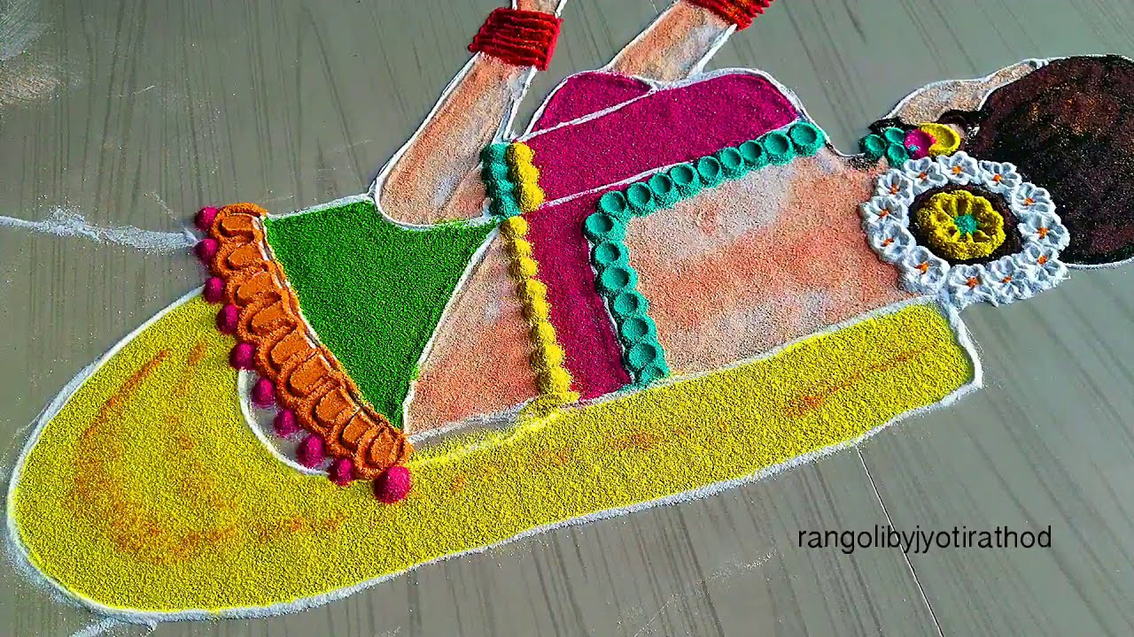 rangoli competition design cute girl by jyoti rathod