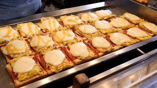 omelet mozzarella cheese toast 부산에서 유명한 송정 문토스트 / korean street food