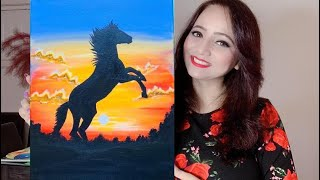How To Paint A Black Horse Painting With Acrylic. Step By Step Tutorial For Beginners.