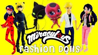 Miraculous Ladybug & Cat Noir FASHION DOLLS Marinette Adrien Ladybug Cat Noir Unboxing And Review