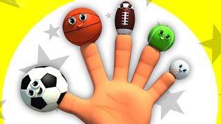 спорт мяч палец семья | песня для детей | Sports Ball Finger Family