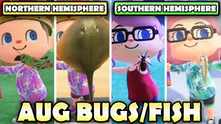 🐛🐟 🦞 AUGUST Bugs, Fish, & Deep Sea Creatures Guide For Northern & Southern Hemisphere In ACNH!