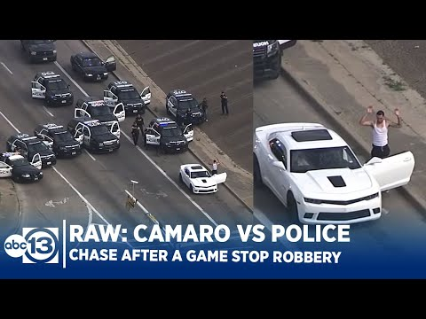 RAW VIDEO: Camaro Vs Police Cars After Game Stop Robbery In Houston