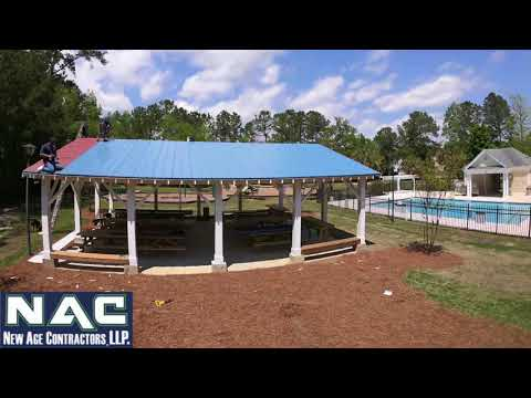 A time-lapse/drone video of the final touches on the picnic pavilion!