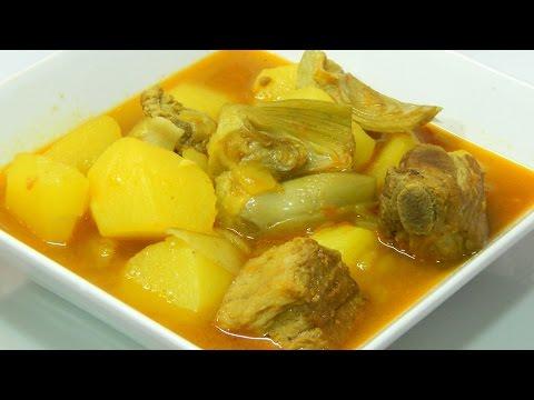 Receta de guiso de costillas con alcachofas y patatas