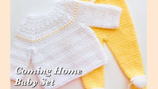 Crochet Baby Sweater, Crochet Coming Home Baby Outfit 0-3 Months For Boys And Girls