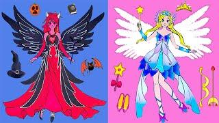 Paper Dolls Dress Up - Angels And Vampire Girl Costume Dress Handmade - Barbie Story & Crafts