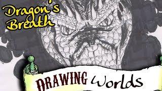 Dragons Breath - Black And White Fantasy Dragon Illustration - Ink On Paper