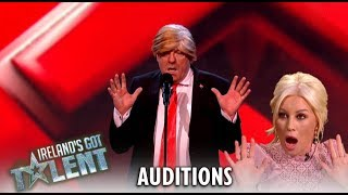 Donald Trump Impersonator Removed By Security During Audition! | Ireland's Got Talent 2019