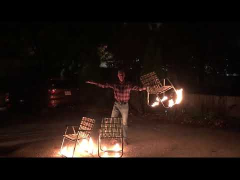 Casually Juggling 3 Flaming Lawn Chairs