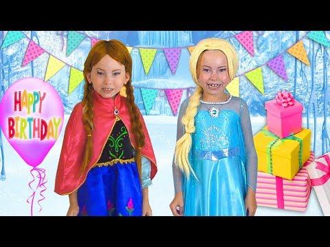 Alice Pretend Princess & preparing celebrating Happy Birthday for Frozen Elsa