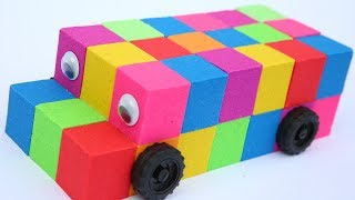 DIY How To Make Kinetic Sand The Wheels on The Bus Learn Colors Kinetic Sand Rainbow Play Doh