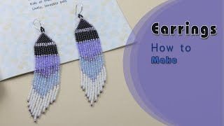 Native American Style Earrings | Easy To Make Earrings | Brick Stitch And Fringe Beaded Earrings