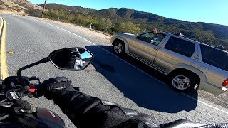 Bad Driver| Driver in Nissan Pathfinder Fails to see approaching Biker and pulls out| Escondido CA